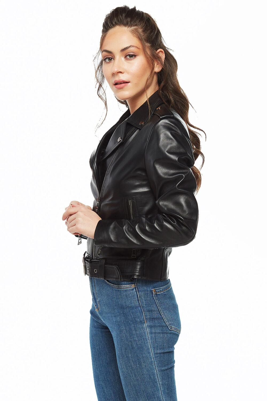 Shiela Brando Black Women Leather Jacket