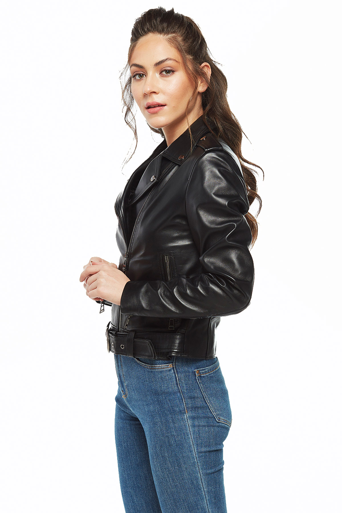 womens leather jacket with wool lining