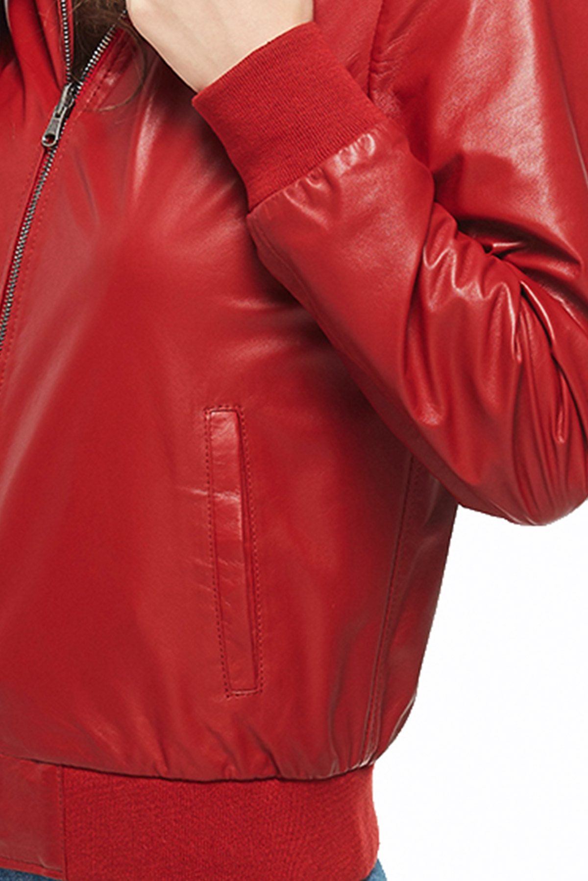 leather hooded jacket womens
