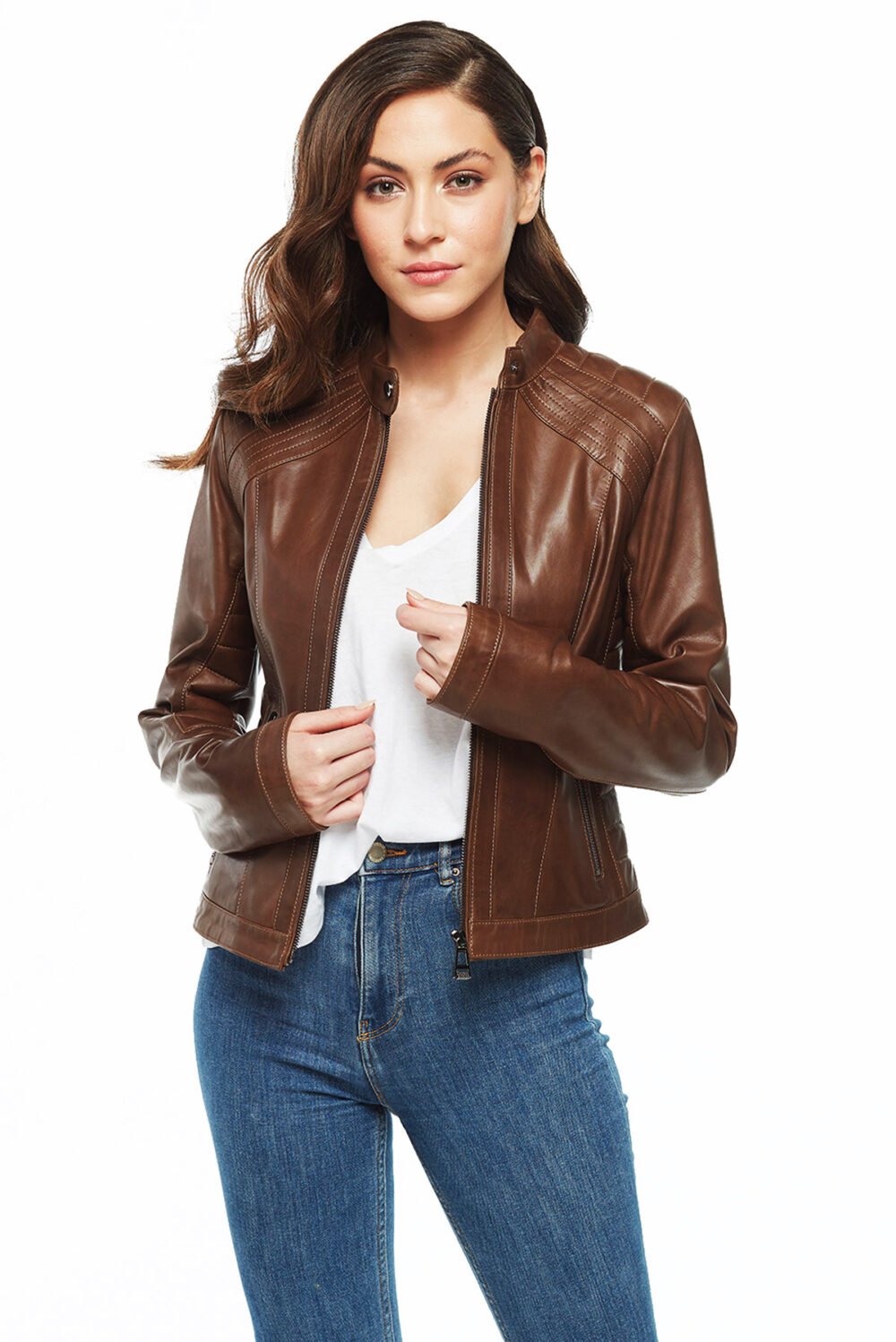 brown leather jackets womens