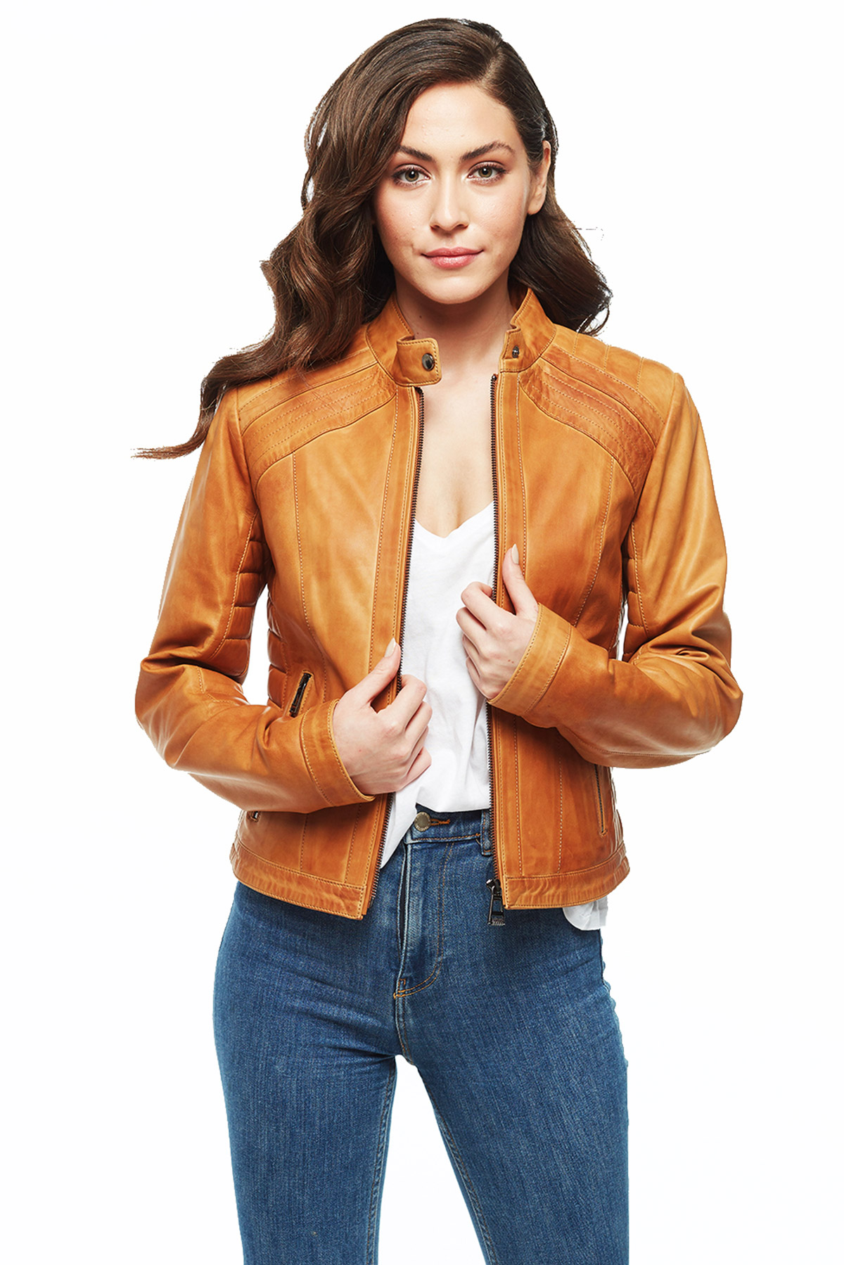 brown leather aviator jacket womens