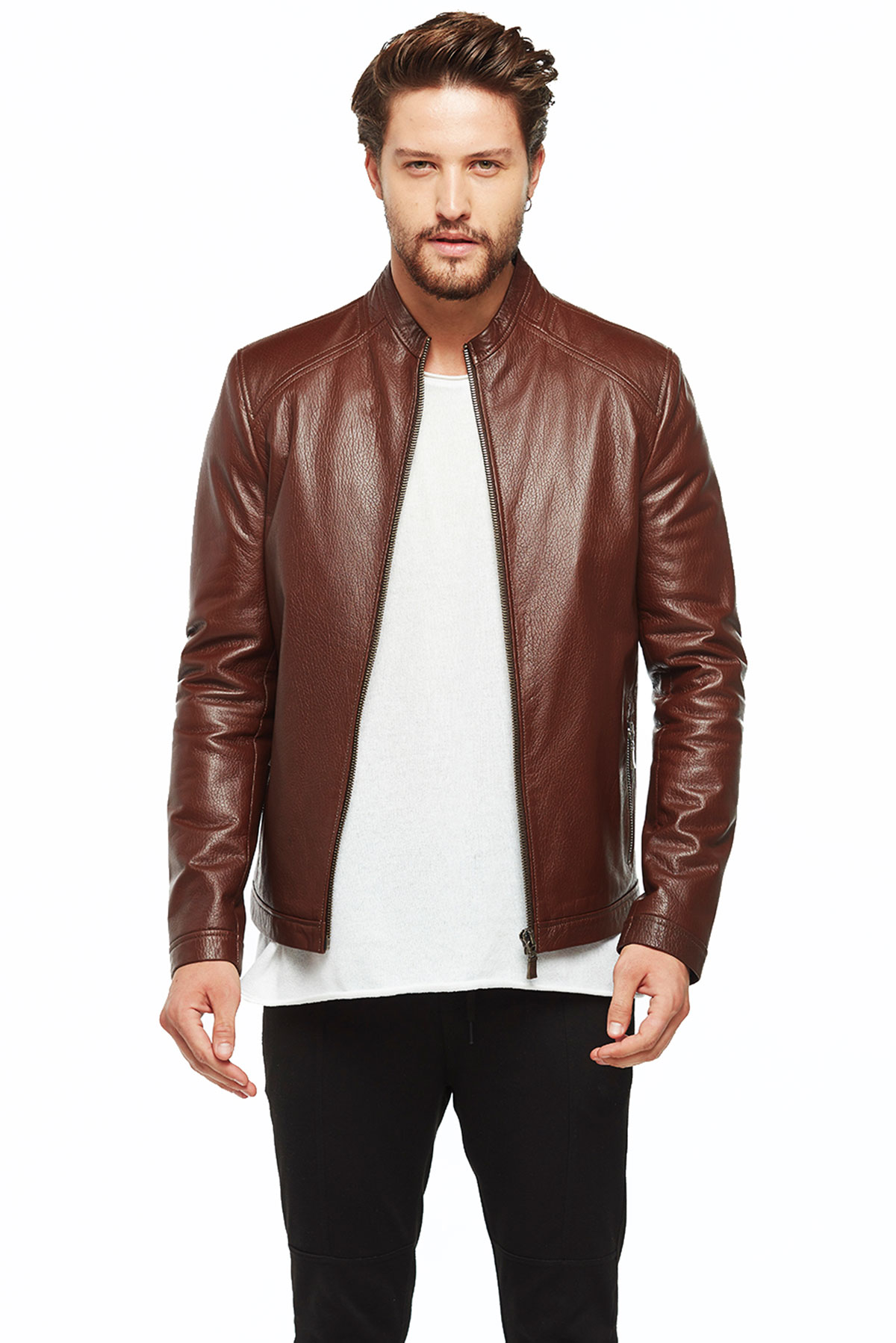 real leather jacket mens brown