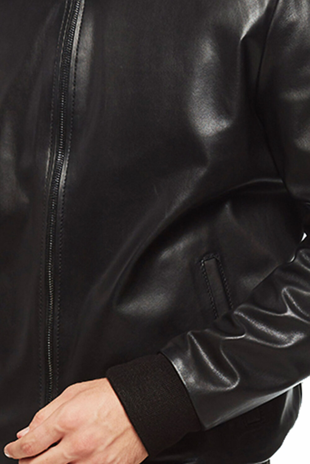 mens red and black reversible leather bomber jacket