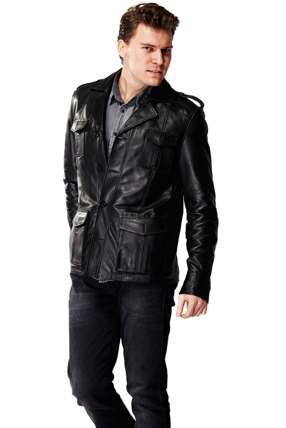 Classic Sleuth Black Men's Leather Jacket