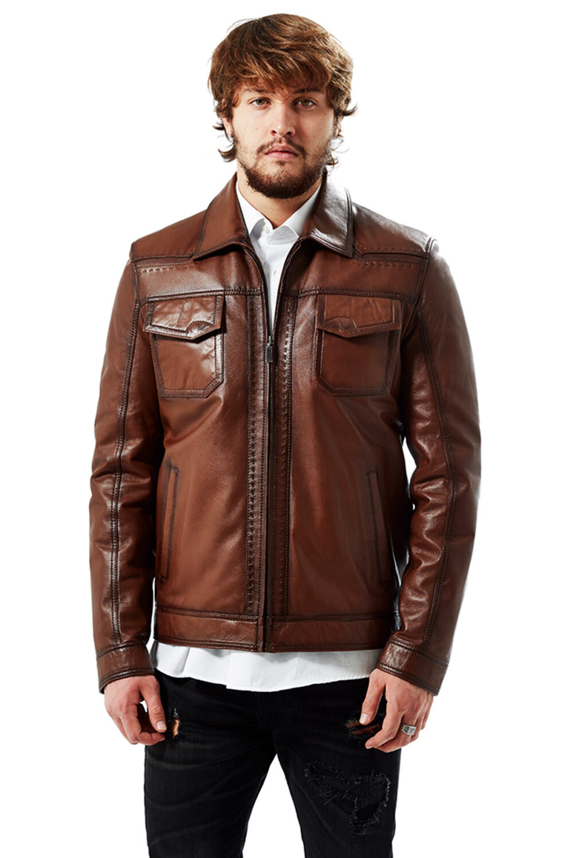 The Marco Punto Antique Brown Men's Leather Coat