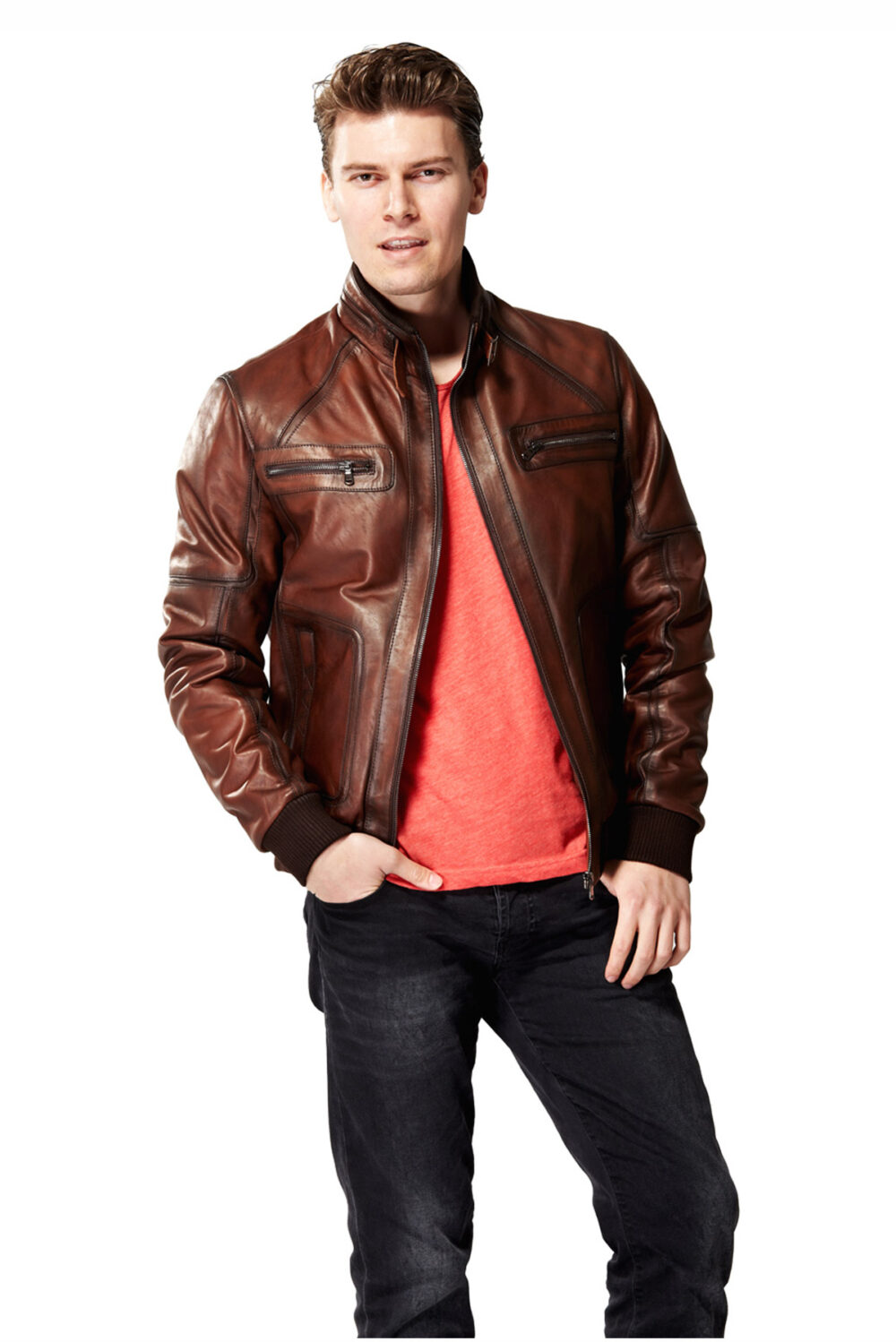 mens brown leather field jacket
