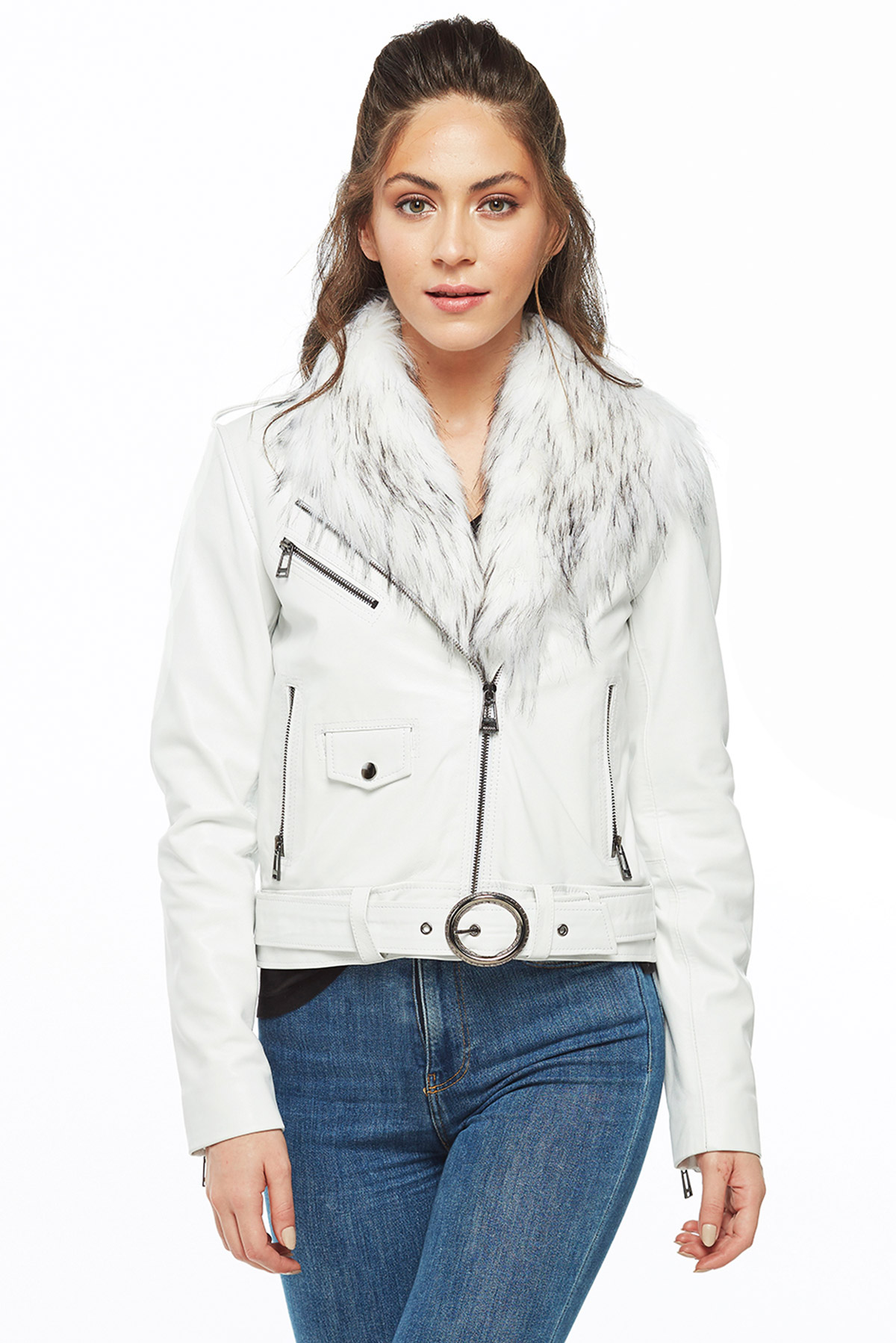 leather jacket with patches women's