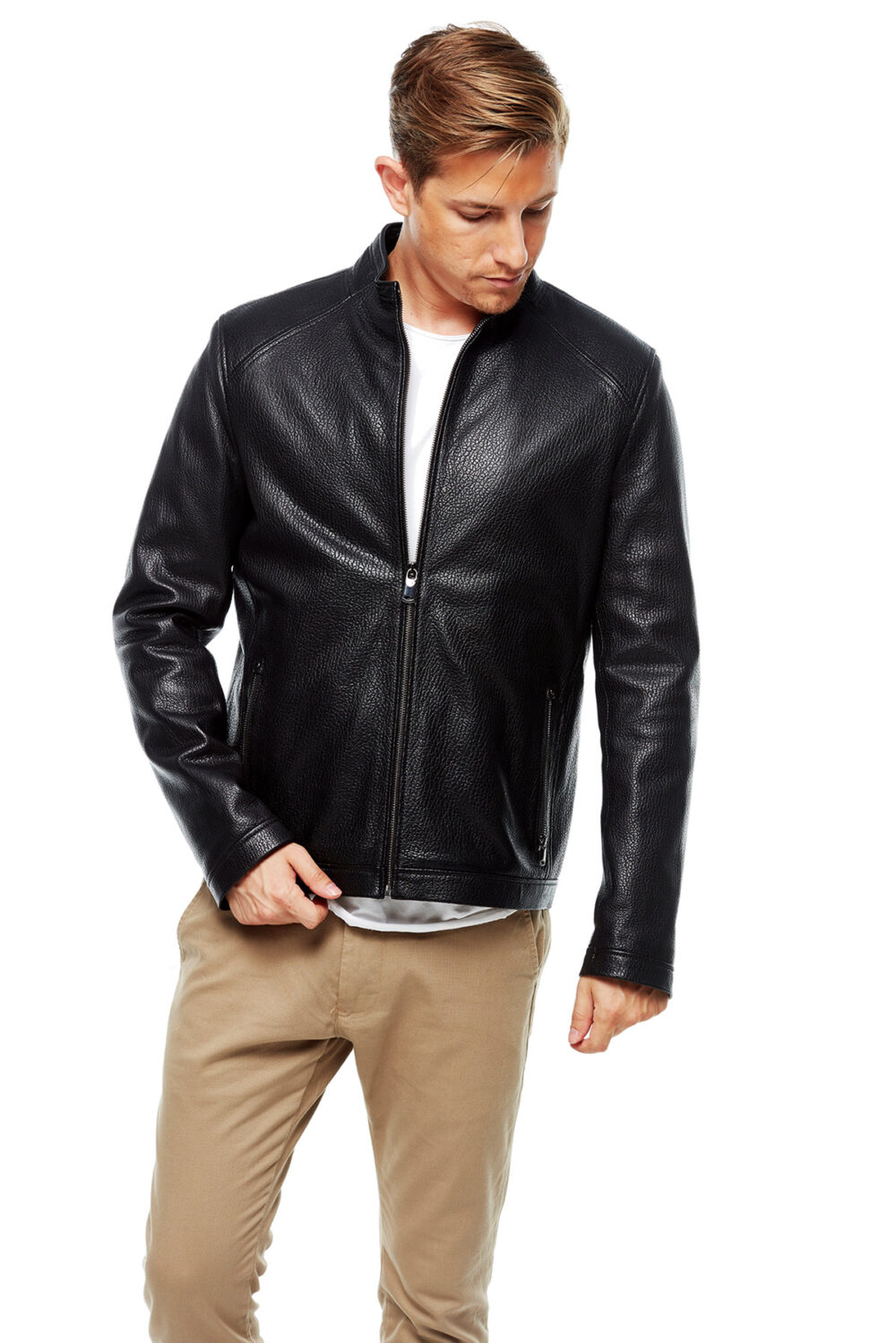 leather mens coat