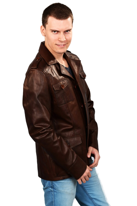 genuine leather jacket mens brown