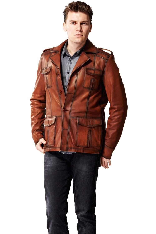 mens black leather blazer jacket