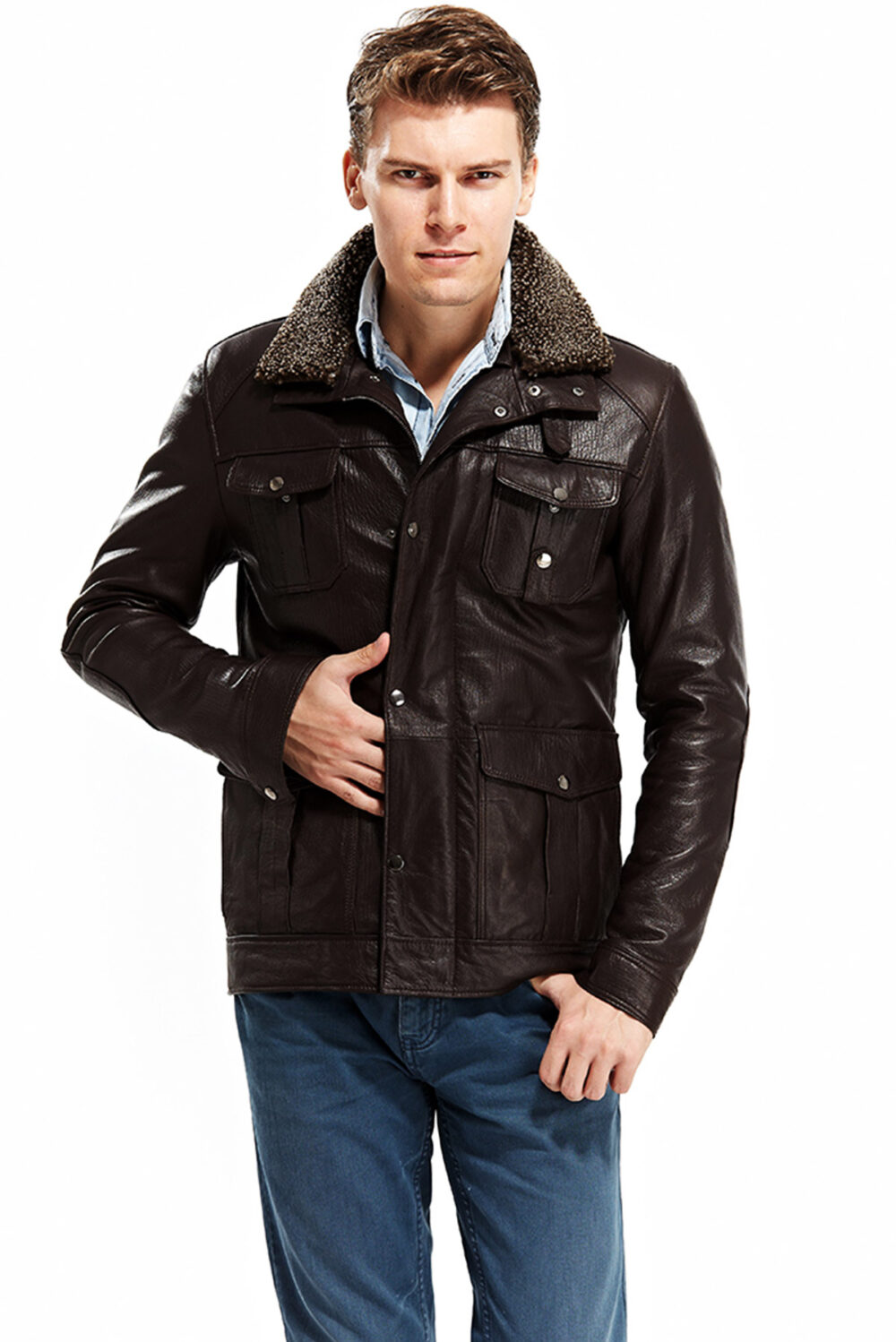 Magento Brown Men's Leather Blouson