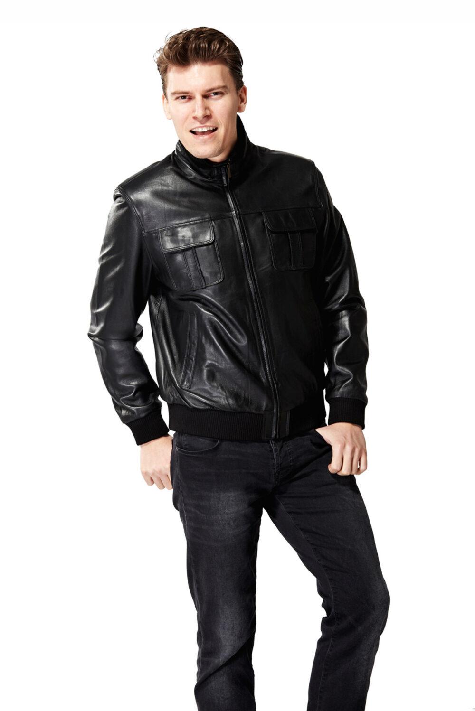 mens leather jackets black