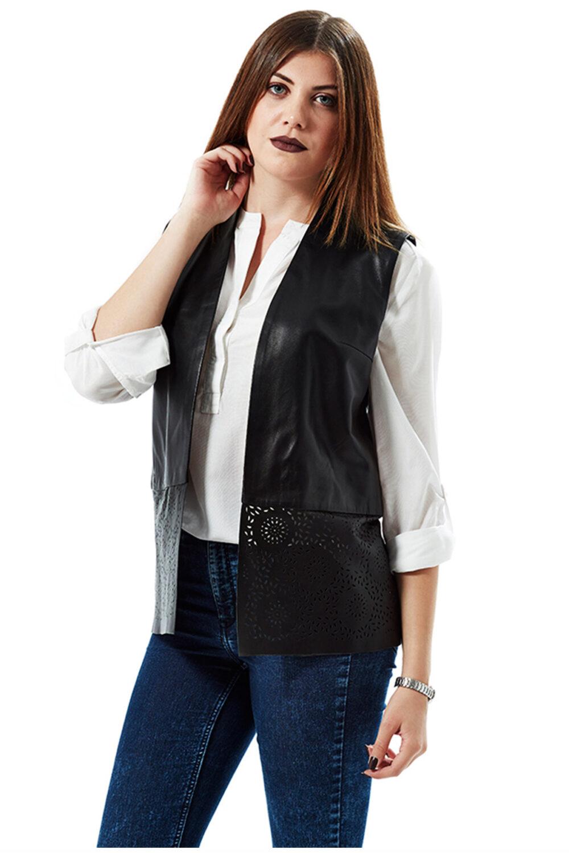 Jenna Embroidered Black Leather Vest