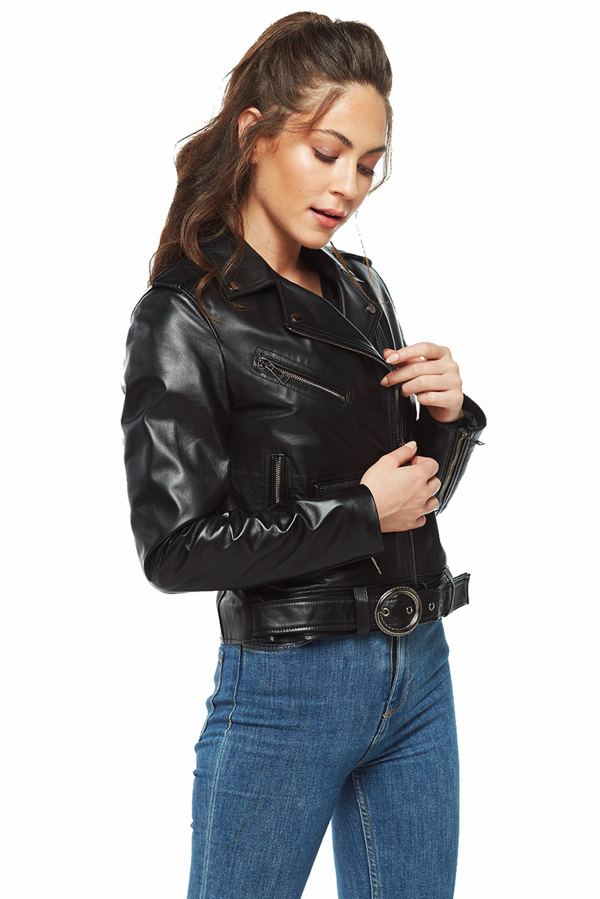 ladies long leather jacket