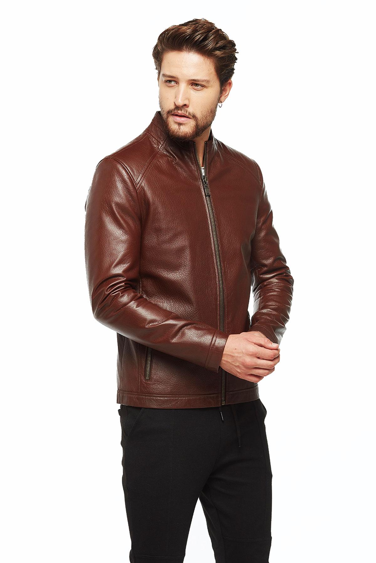 tan leather jacket for men