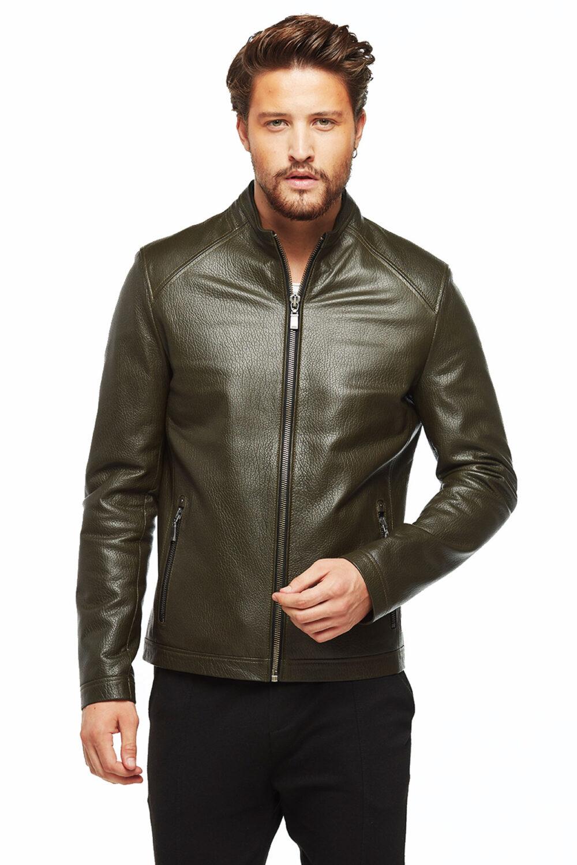 teal leather jacket mens