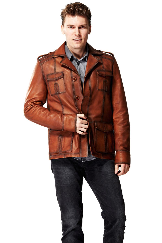 tan biker jacket mens