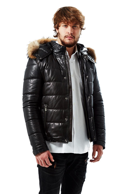 genuine leather jacket with hoodie