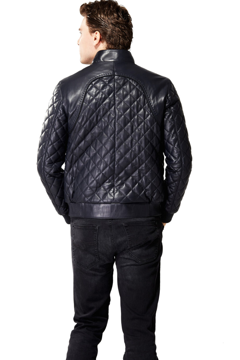 The Classic Diamond Quilted Black Men's Leather Jacket