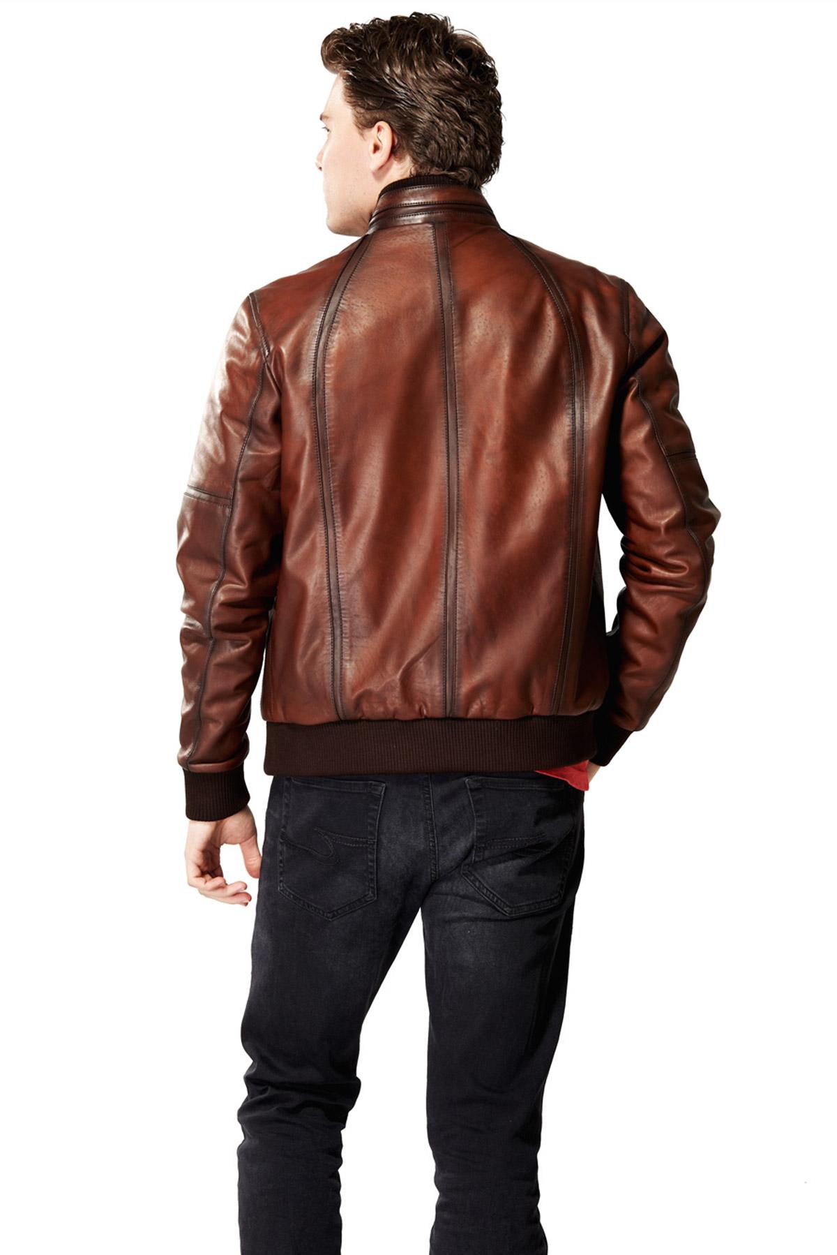 mens bomber lambskin leather jacket