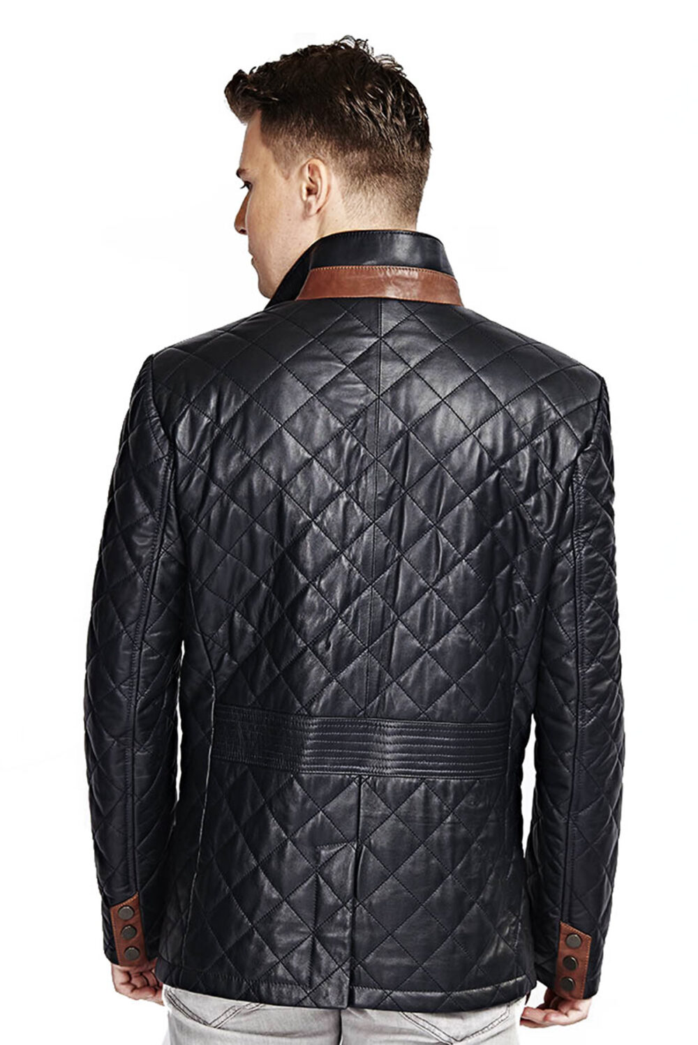 Zampa Navy Blue Quilted Men's Leather Jacket