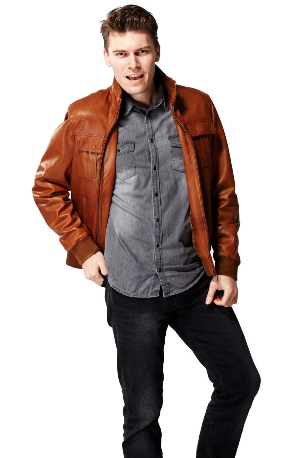 leather jacket mens brown
