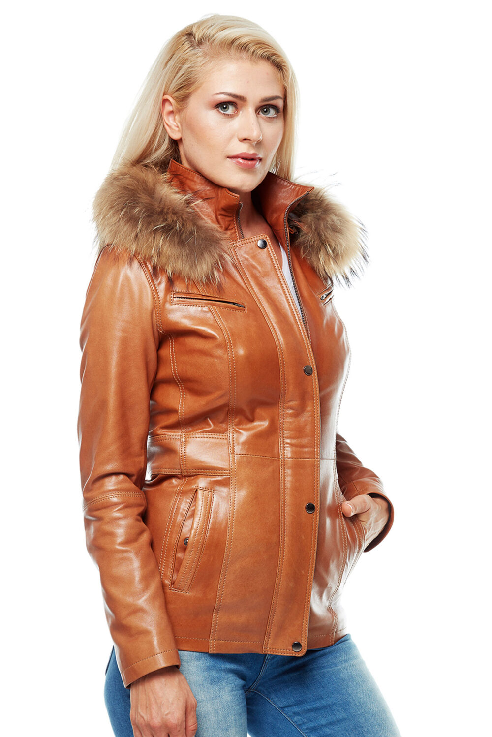 Pinar Tabacco Brown Hooded Leather Jacket