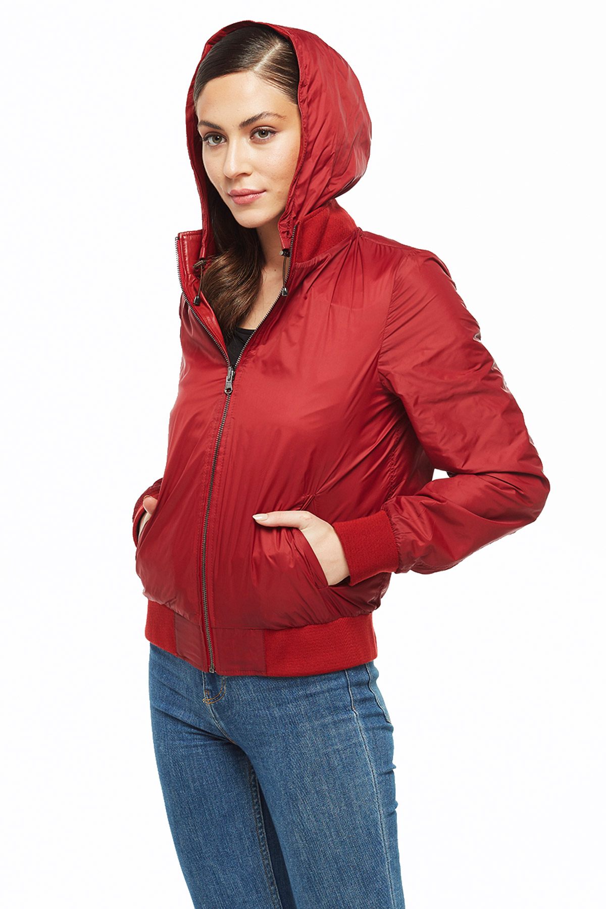 smart fit womens double sided bomber jacket