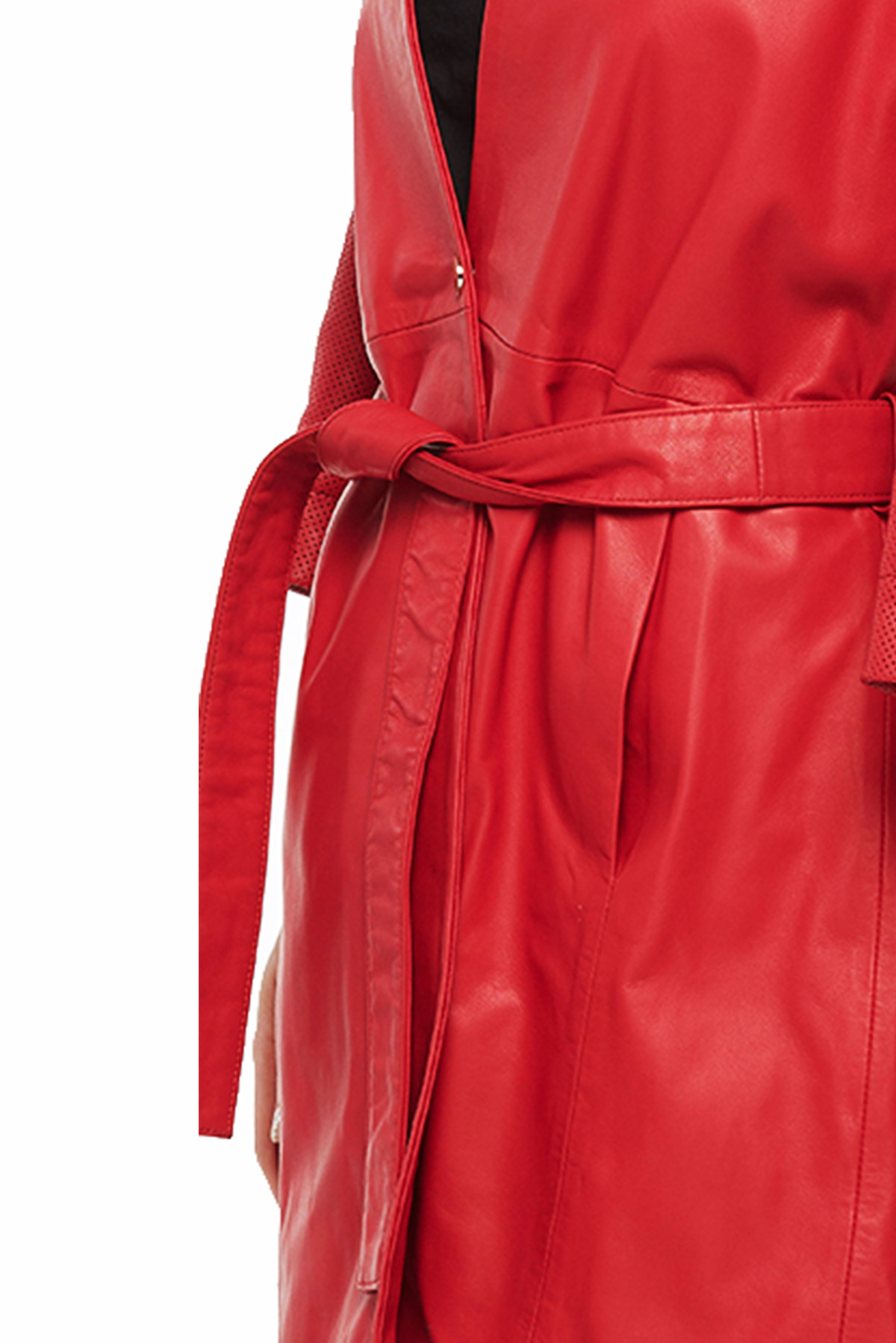Waist Belted Womens Leather Trench Coat