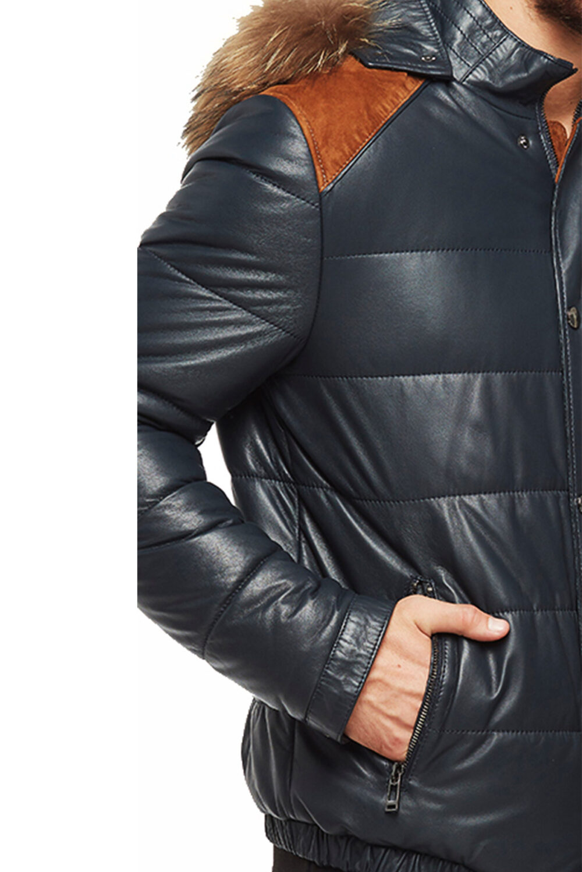 Anthony Puffer Men's Black Hooded Leather Jacket