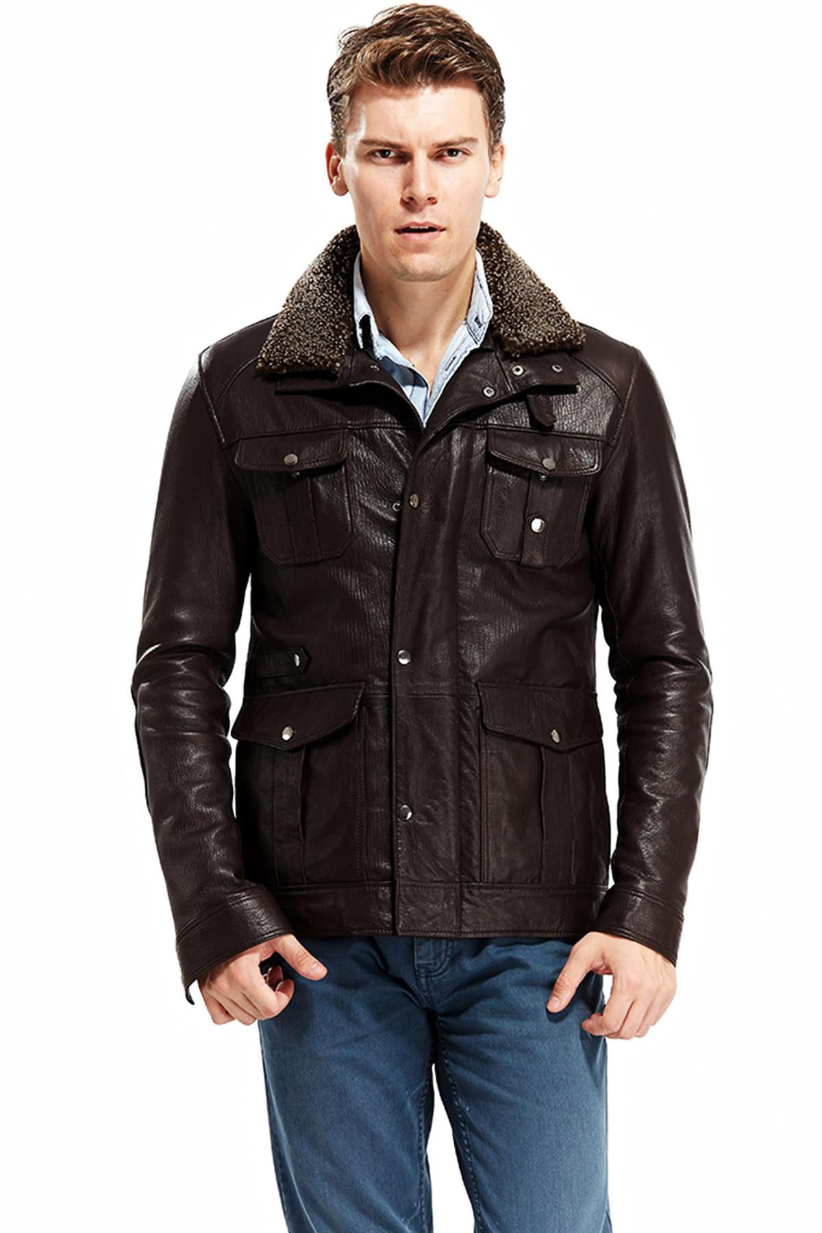 Magento Brown Men's Leather Blouson