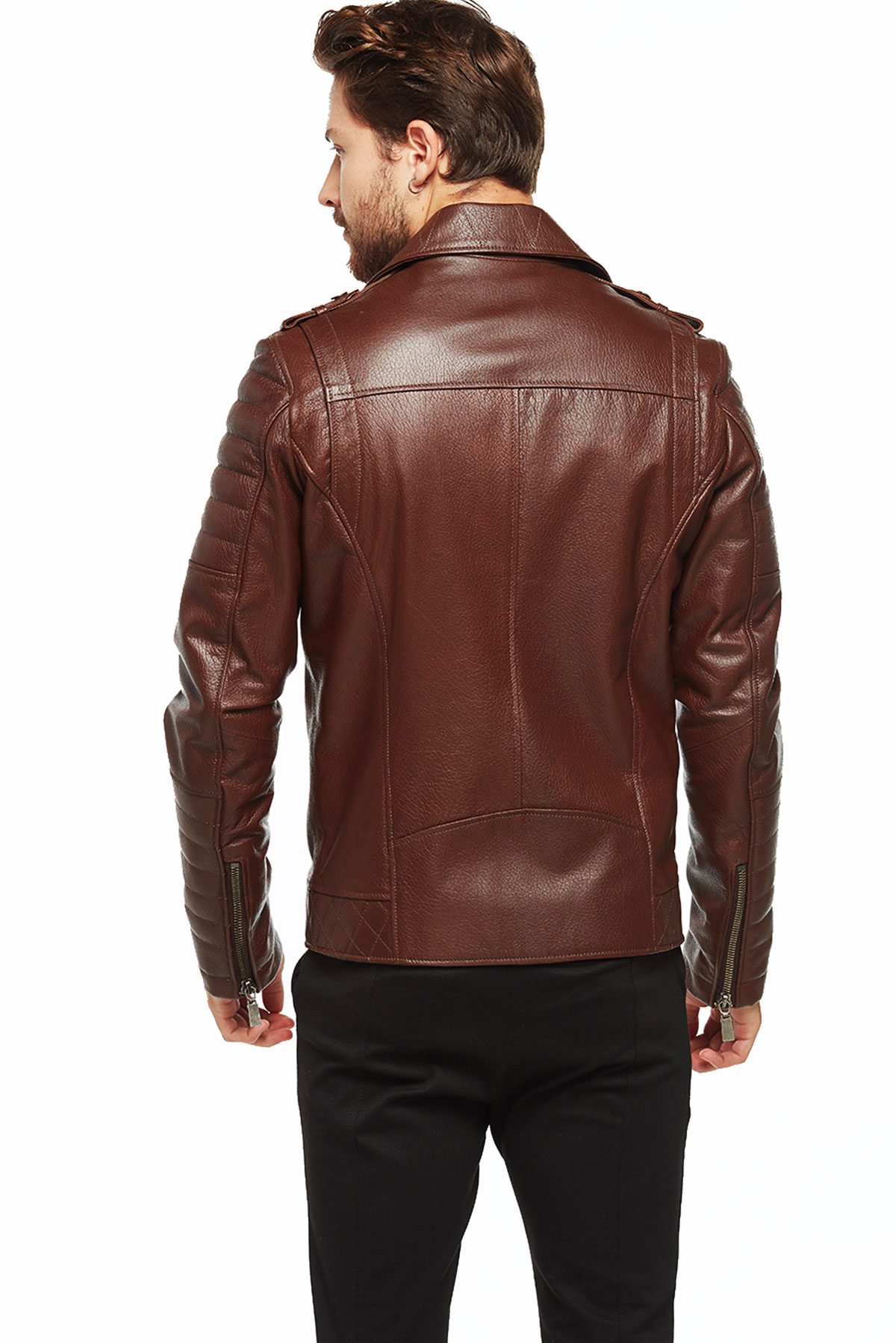 sport brown biker leather jacket