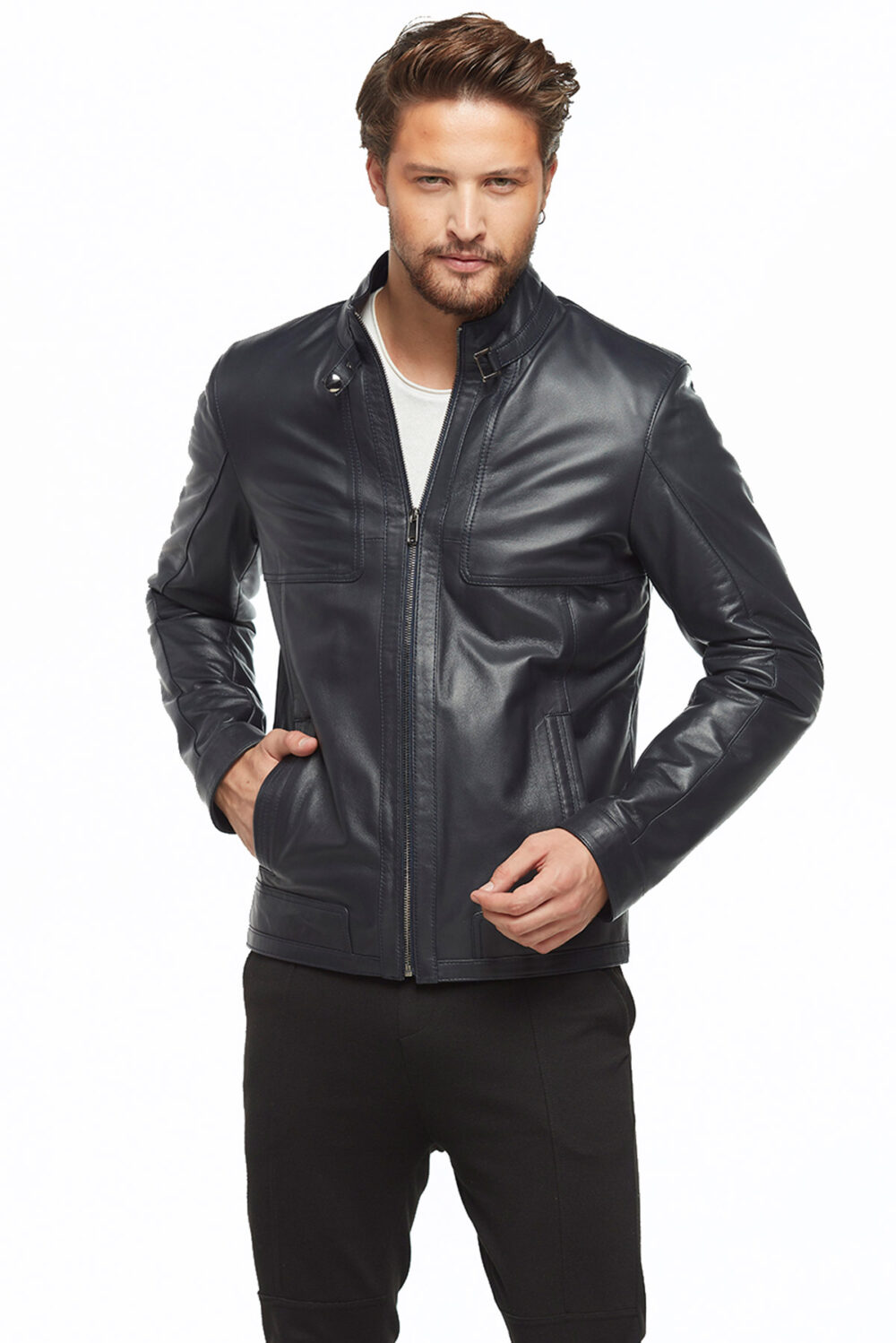 Nolan Navy Blue Men's Leather Jacket
