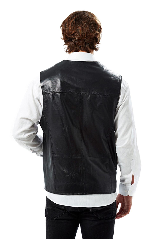 The Best Mate Black Men's Leather Vest