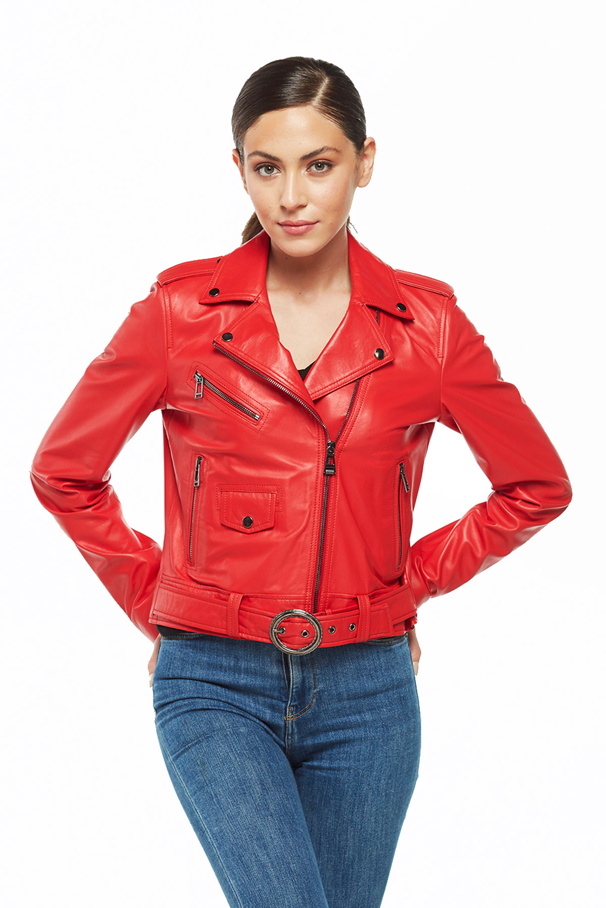 hooded leather bomber jacket womens