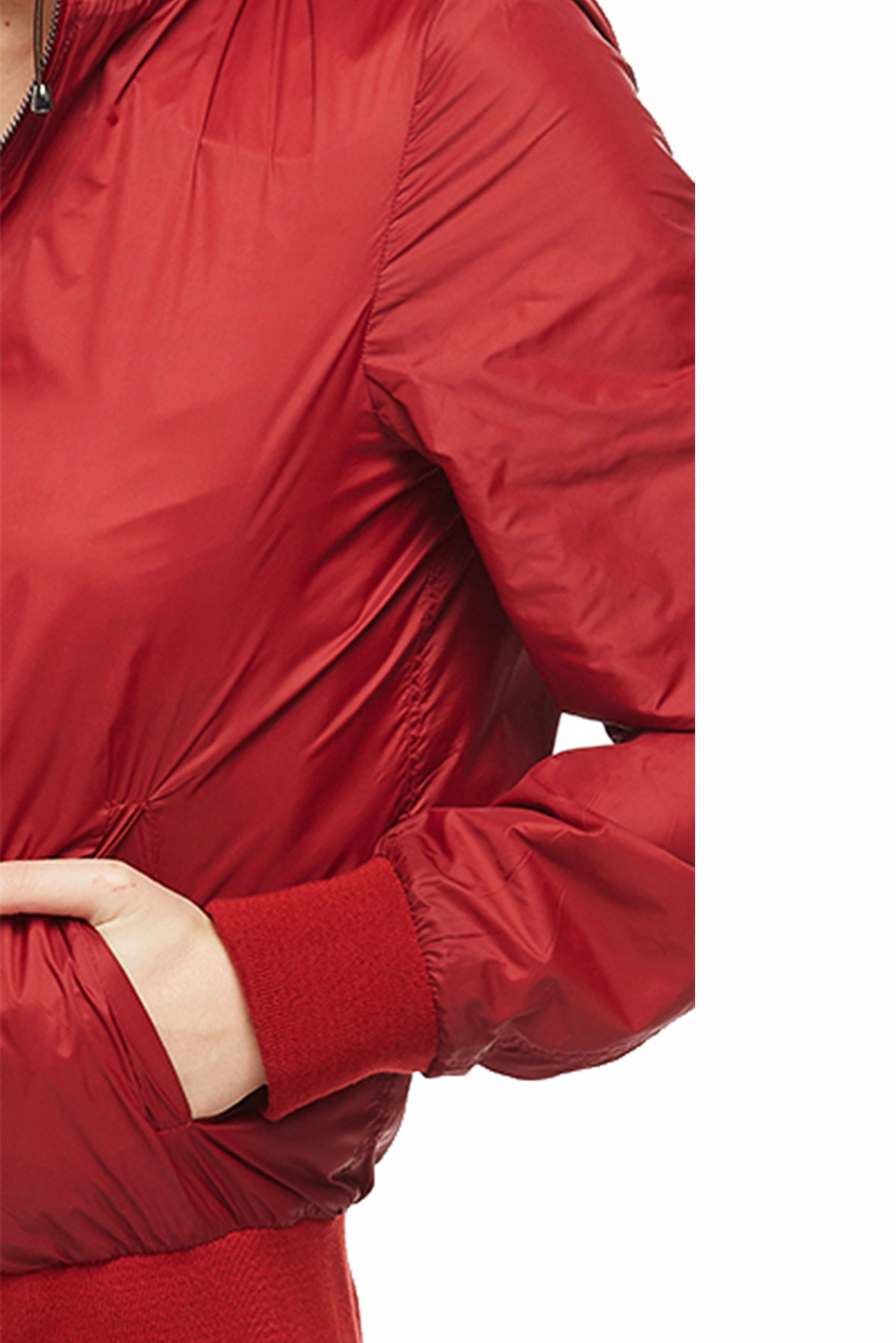 reversible leather and parachute red bomber jacket