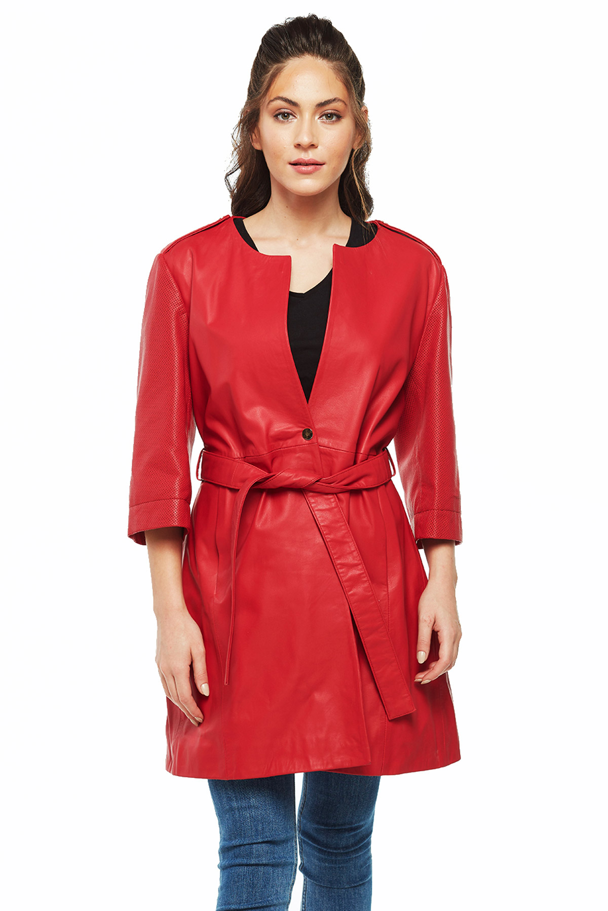 nordstrom womens leather trench coat