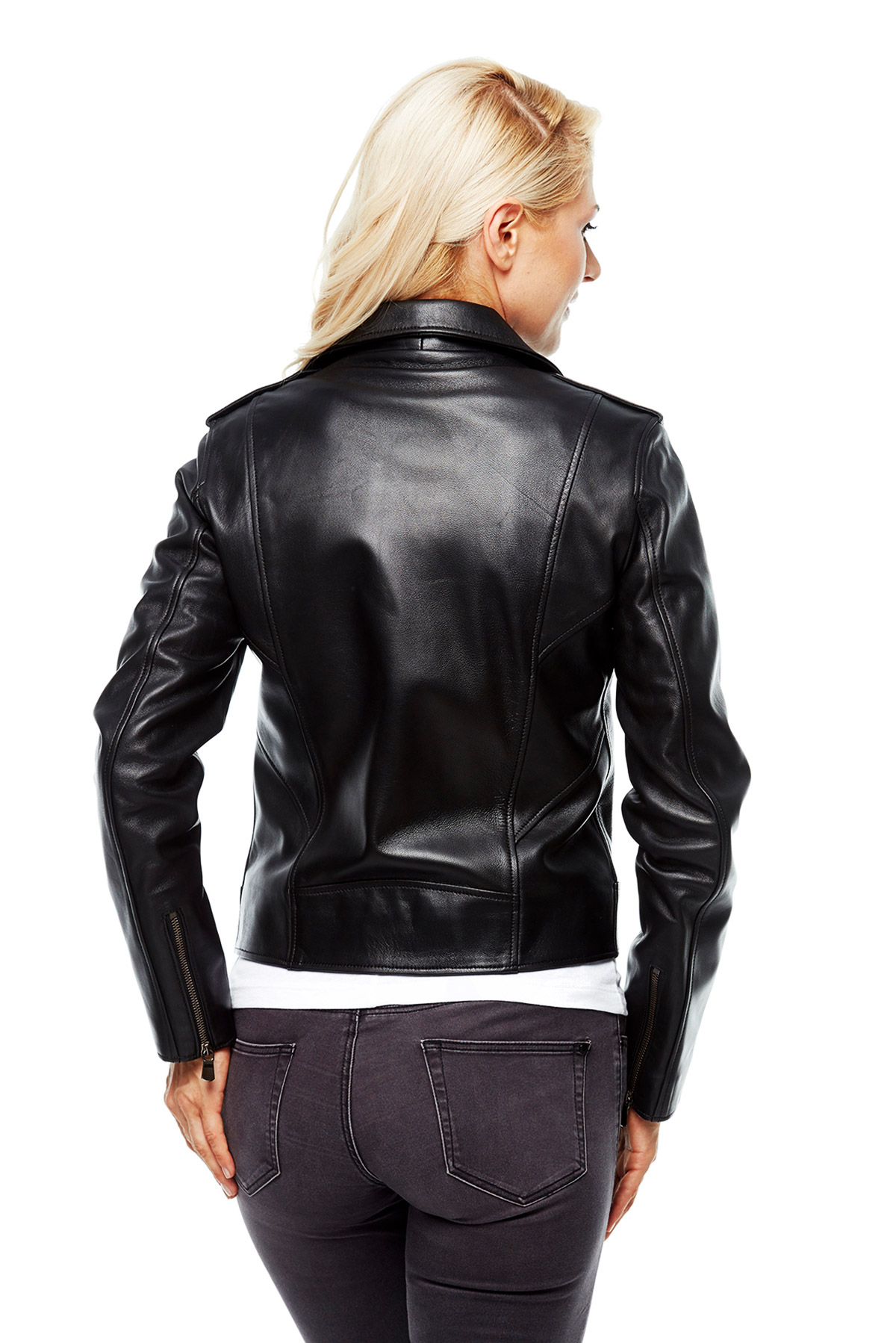 ladies leather swing coat