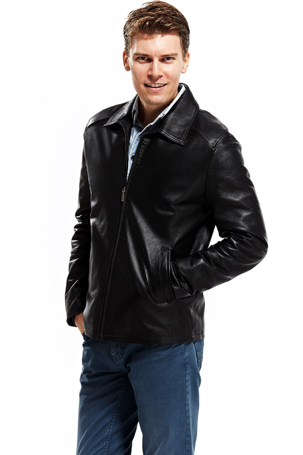 black and brown leather jacket