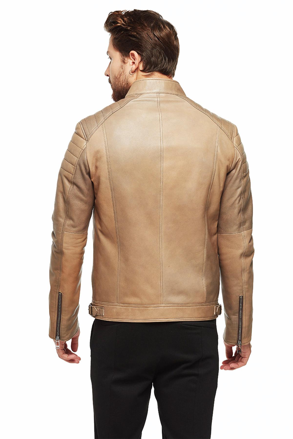tan leather blazer