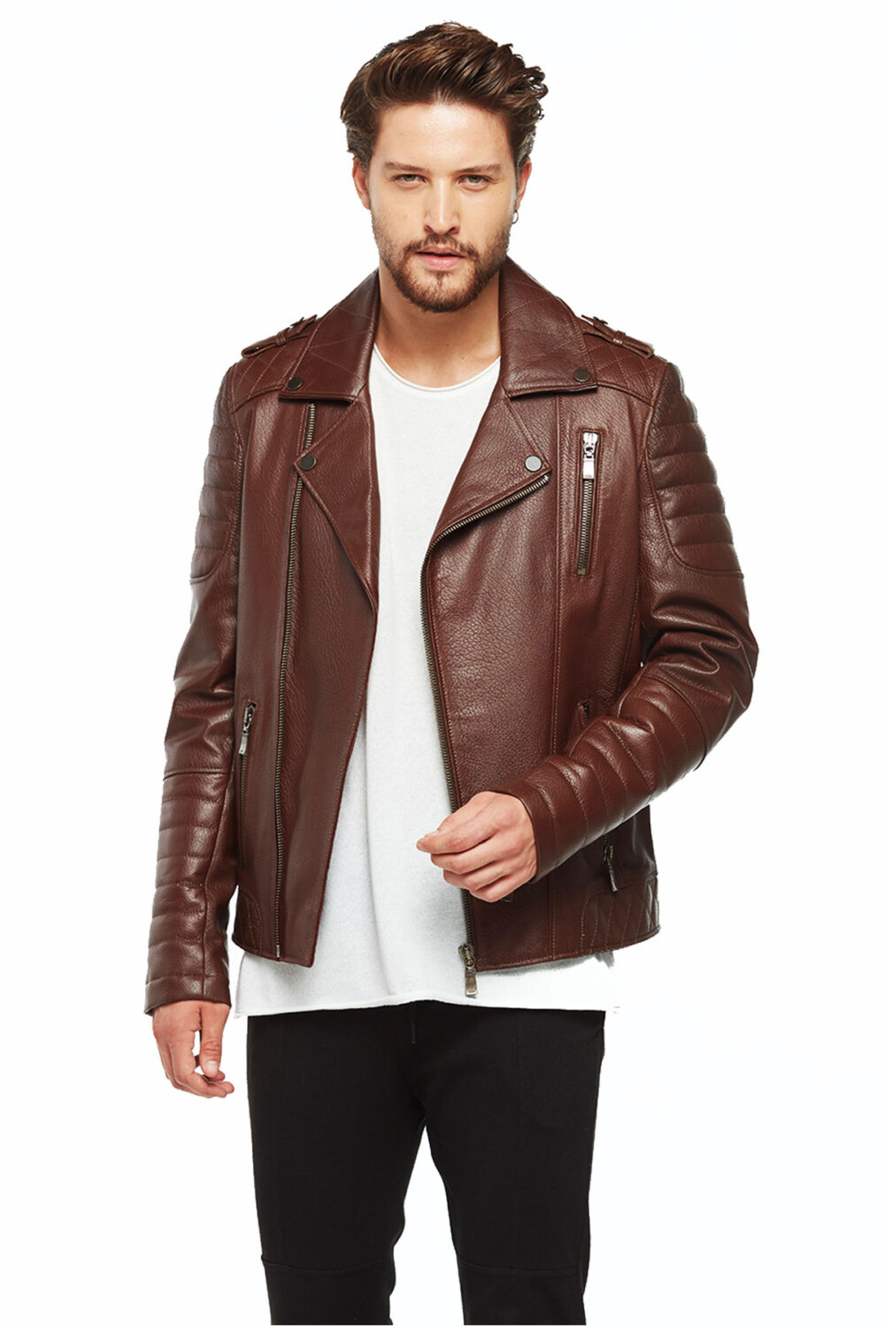 stylish brown leather jacket outfit men's