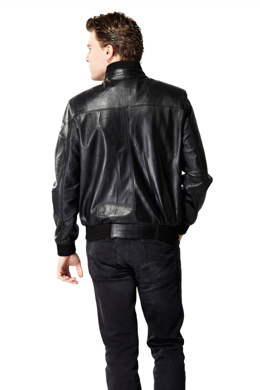 mens patent leather jacket