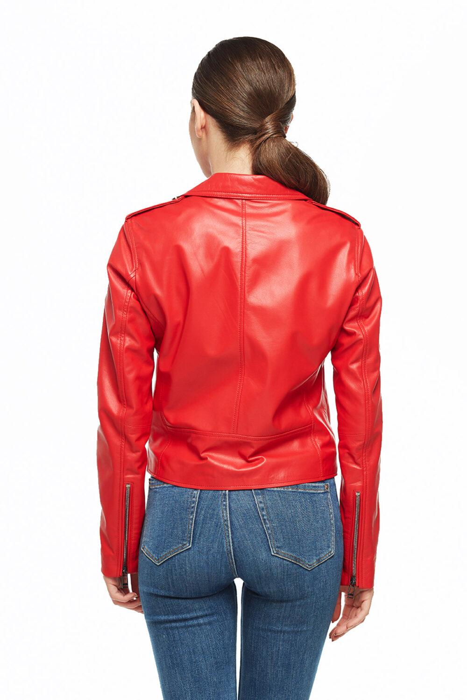 Shiela Brando Red Women Leather Jacket