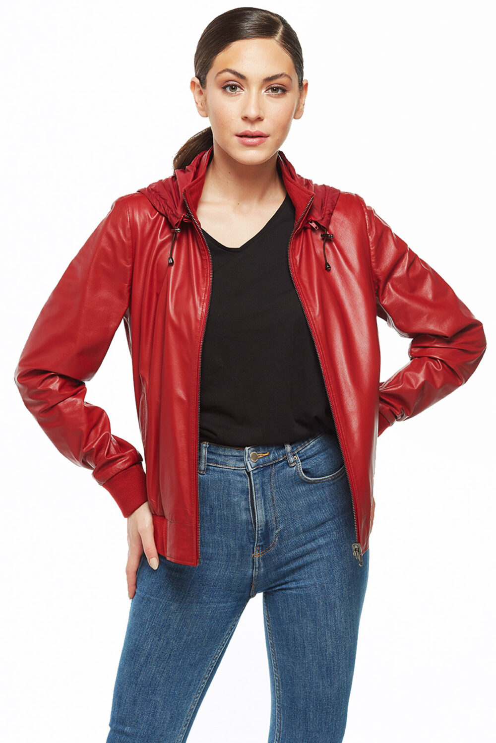 double sided stylish red bomber leather Jacket