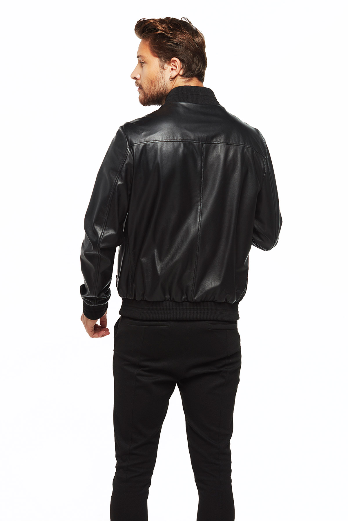 The Nerd Bomber Black Leather Jacket