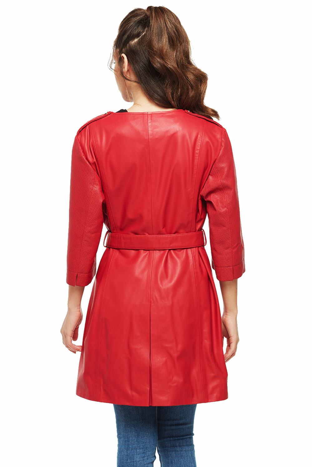 best womens red leather trench coats