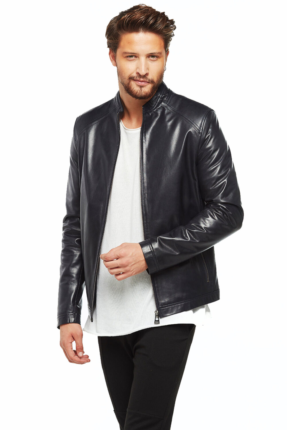 mens black leather suit jacket