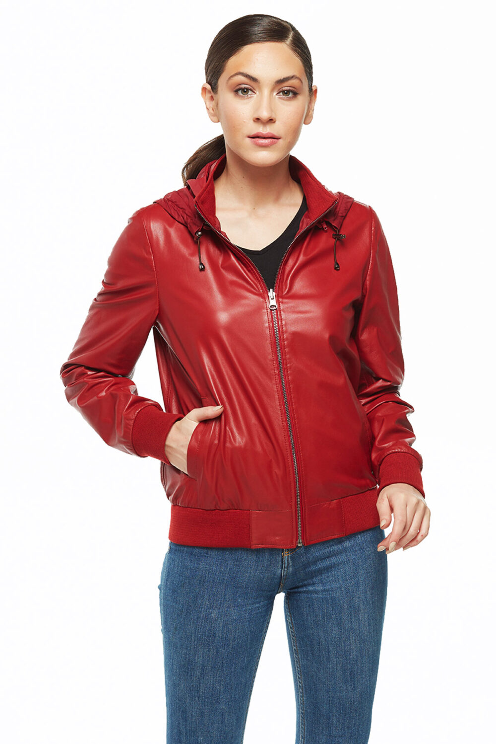 womens leather hooded jacket