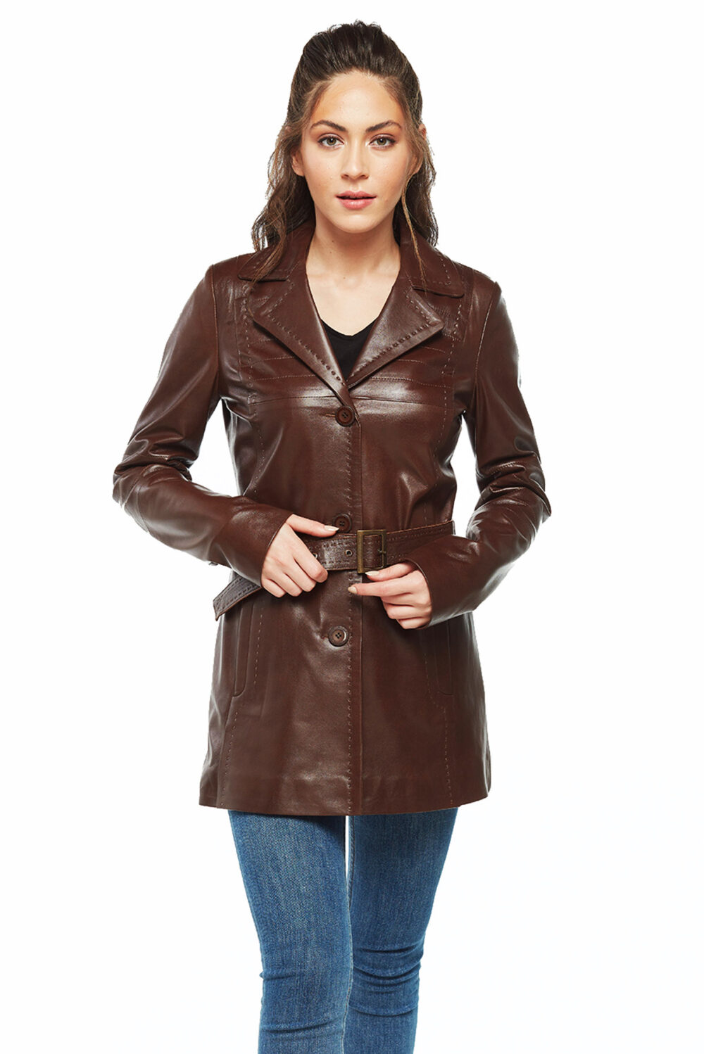 best leather trench coat for females