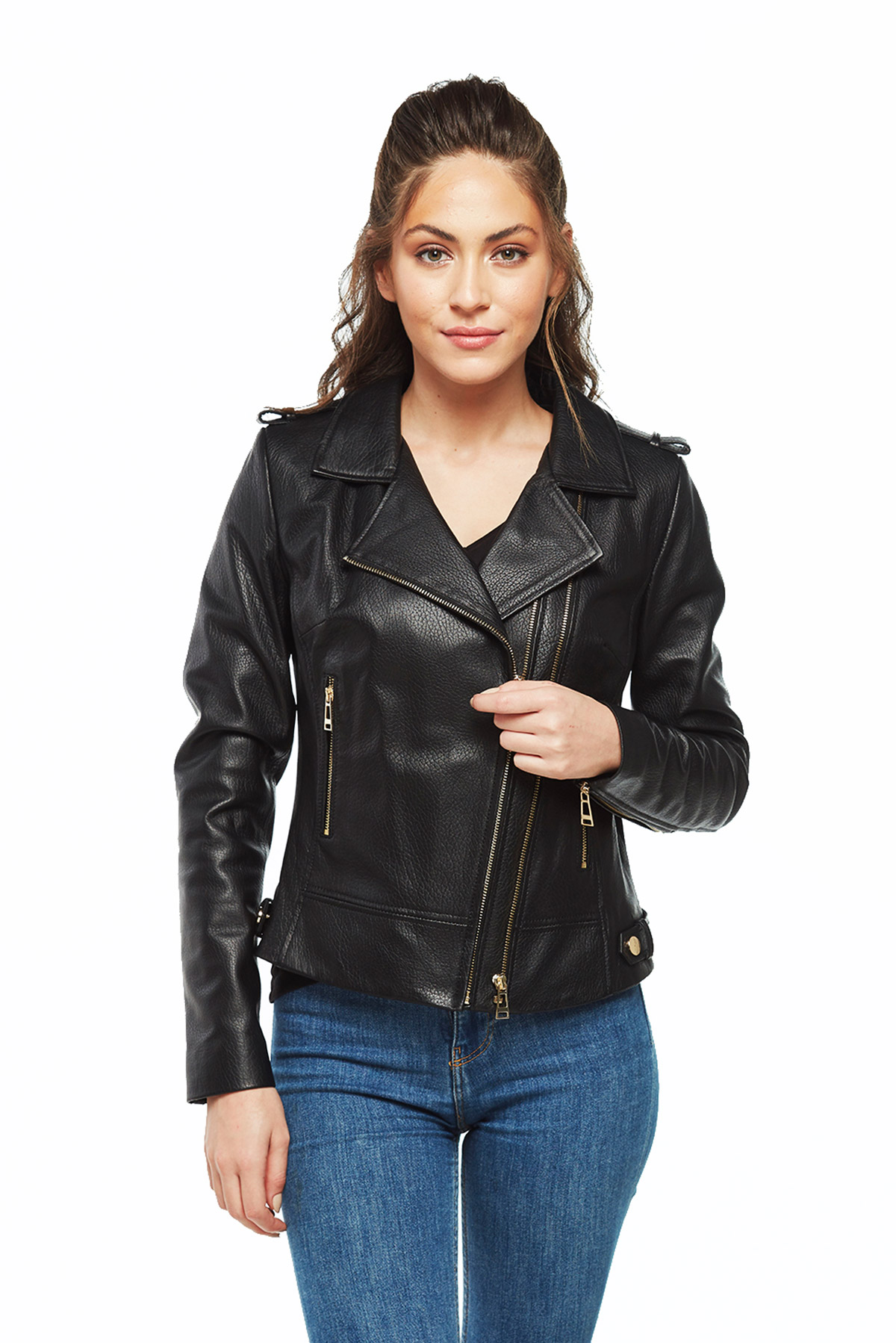 black real leather jacket